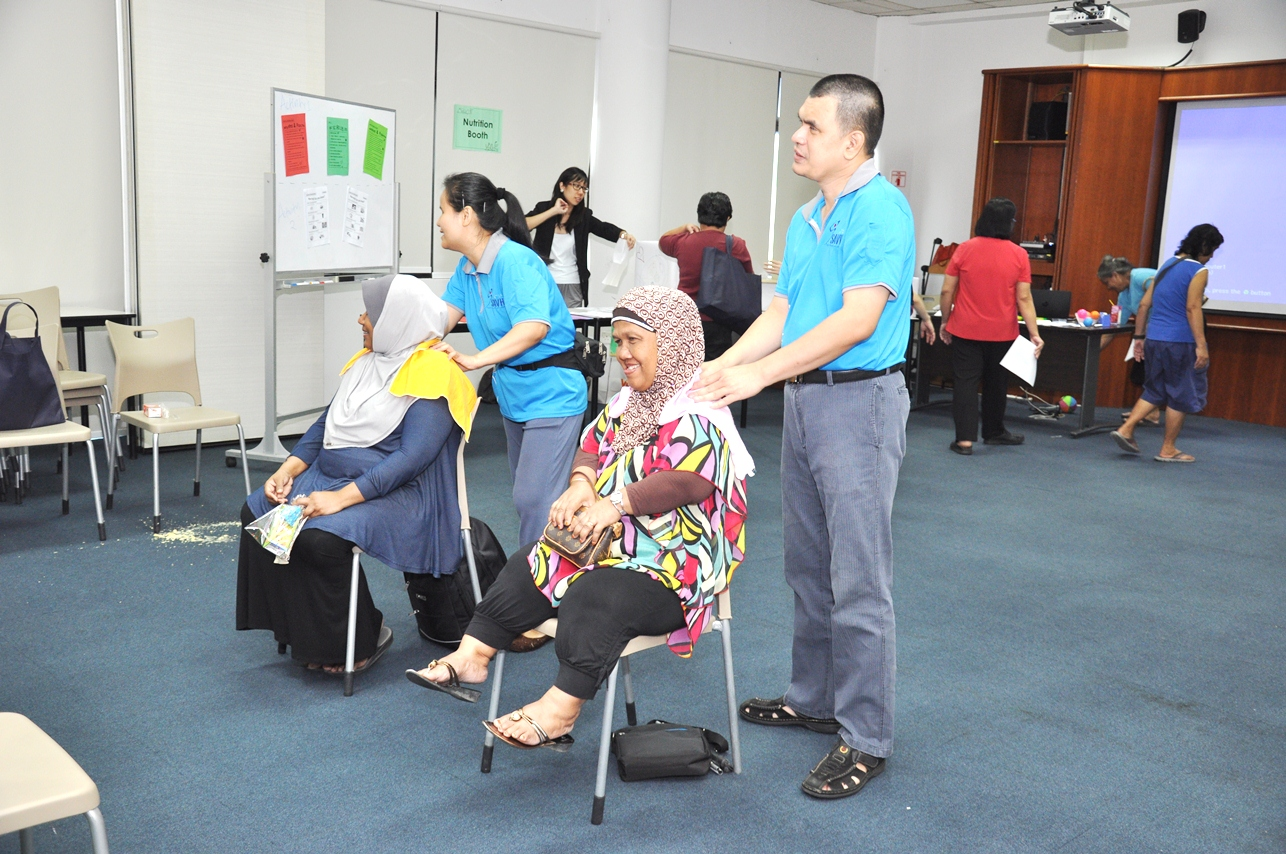 Caregivers receiving massage