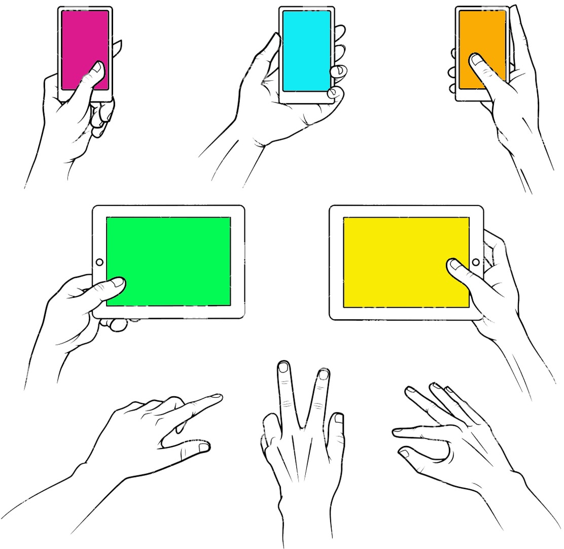 Image of hands using mobile devices